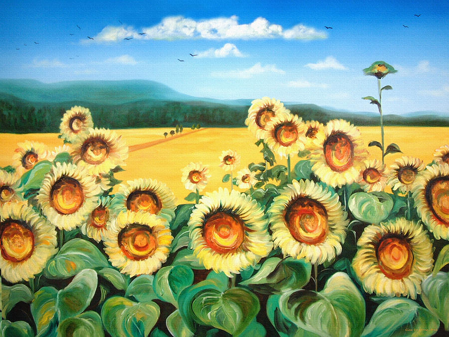 Landscapes Painting - Sunflowers by Gina De Gorna