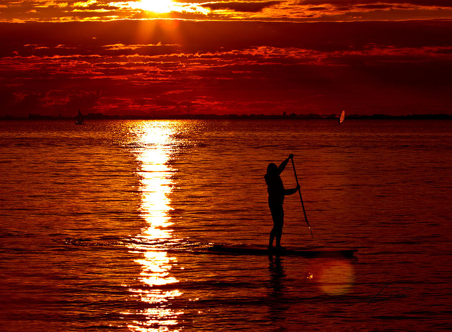 Paddle Boarding Photograph - Sunset Silhouette by Barbara  White