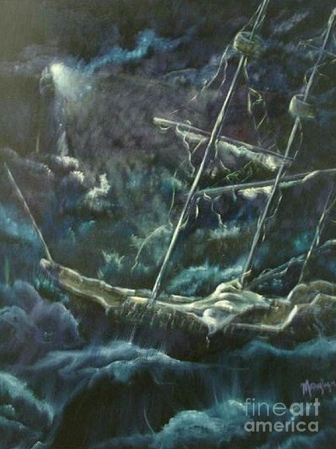 Ship At Sea Painting - Surviving The Storm by Marylyn Wiedmaier