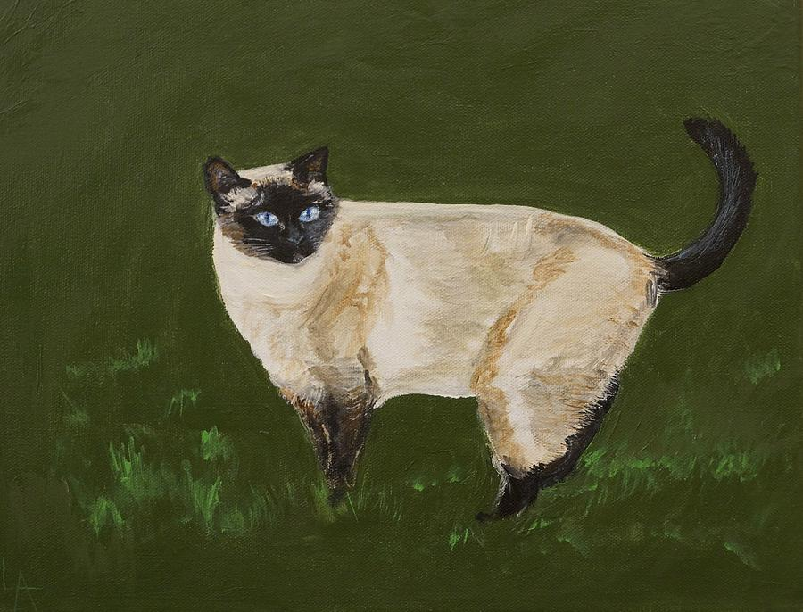 Siamese Cats Painting - Sweetest Siamese by Leslie Allen