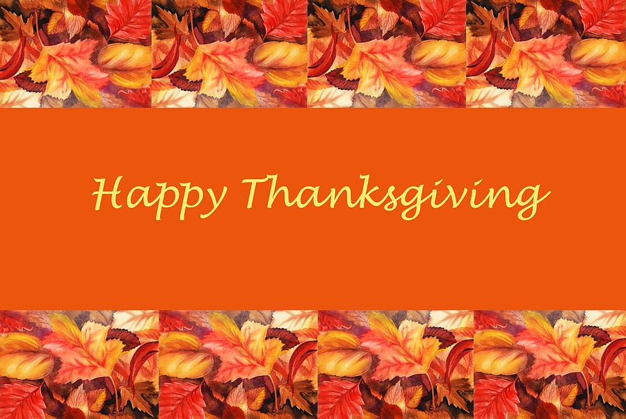 Fall Painting - Thanksgiving Card by Irina Sztukowski