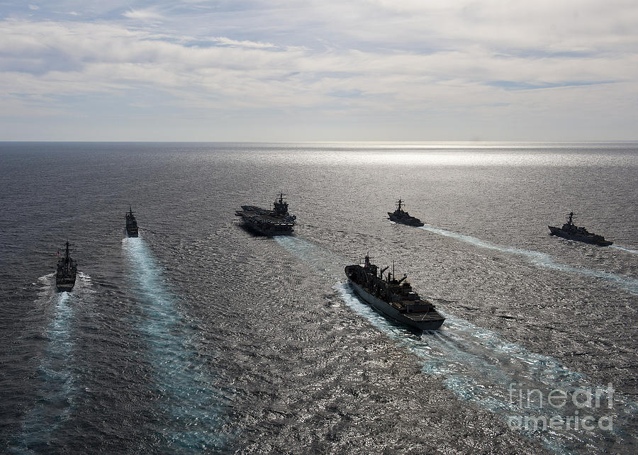 Atlantic Ocean Photograph - The Enterprise Carrier Strike Group by Stocktrek Images