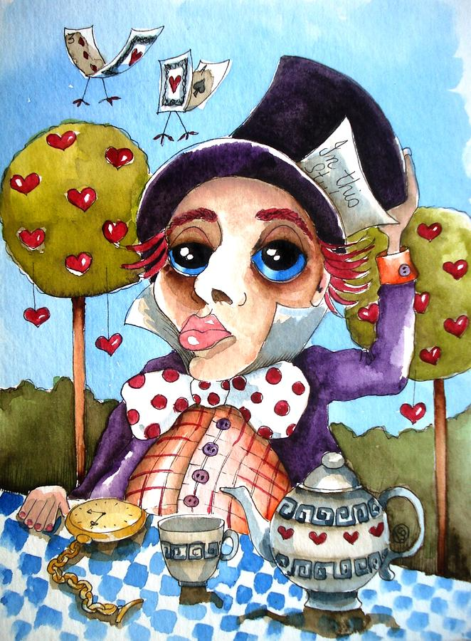 Alice Painting - The Mad Hatter by Lucia Stewart