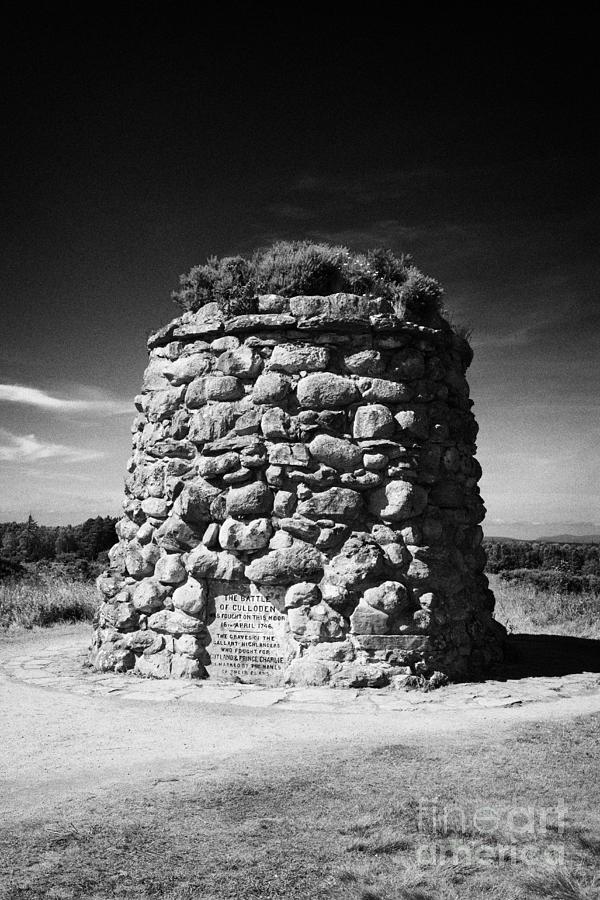 The Photograph - the memorial cairn on Culloden moor battlefield site highlands scotland by Joe Fox
