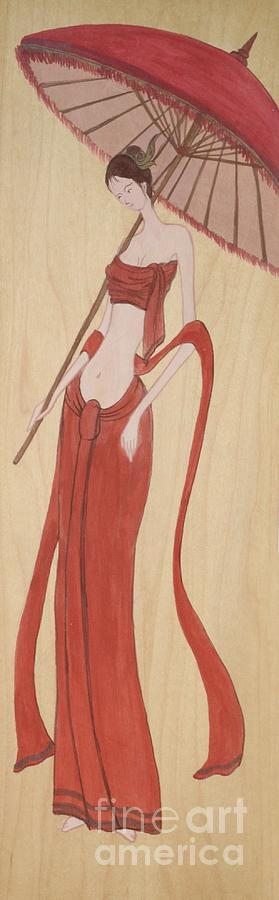 Ancient Painting - The Thai Traditional Contemporary Drawing Fairy Tale On Wood by Ittipon Kongsua