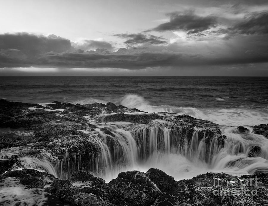 Black And White Photography Photograph - Thors Well by Keith Kapple