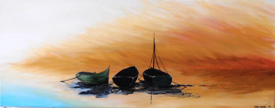 Boats Painting - Threes Company by Siobhan Lawson