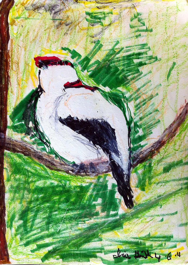 Bird Painting - Untitled by Iris Gill