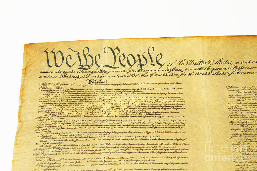 Constitution Photograph - U.s Constitution by Photo Researchers, Inc.