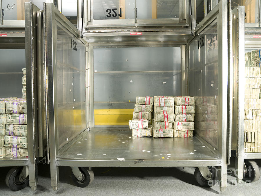 Architectural Photograph - Us Dollar Bills In A Bank Cart by Adam Crowley
