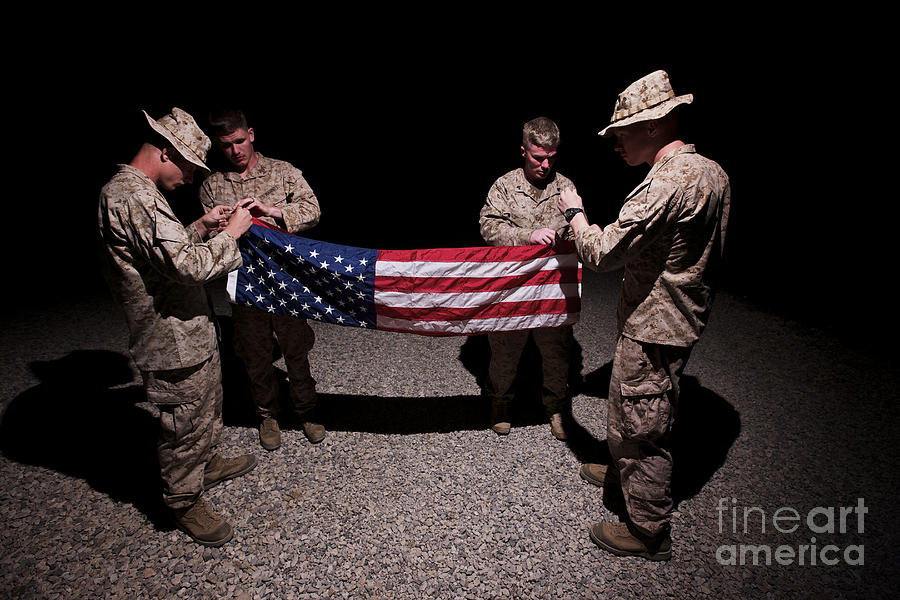 Us Flag Photograph - U.s. Marines Fold The American Flag by Terry Moore
