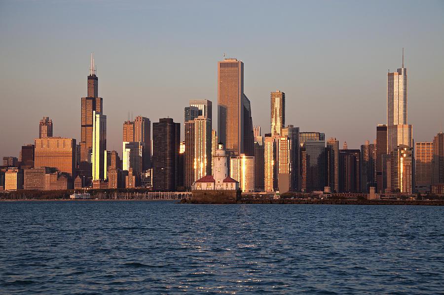 Horizontal Photograph - Usa, Illinois, Chicago, City Skyline Over Lake Michigan by Henryk Sadura