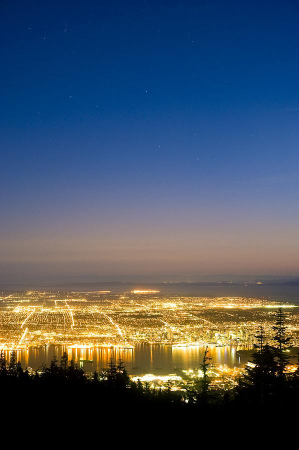 Vancouver Photograph - Vancouver At Night, Time-exposure Image by David Nunuk