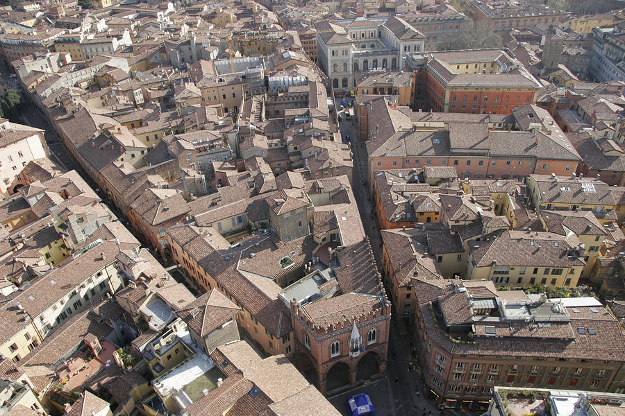 Bologna Photograph - View Of Bologna From The Torre Degli by Gina Martin