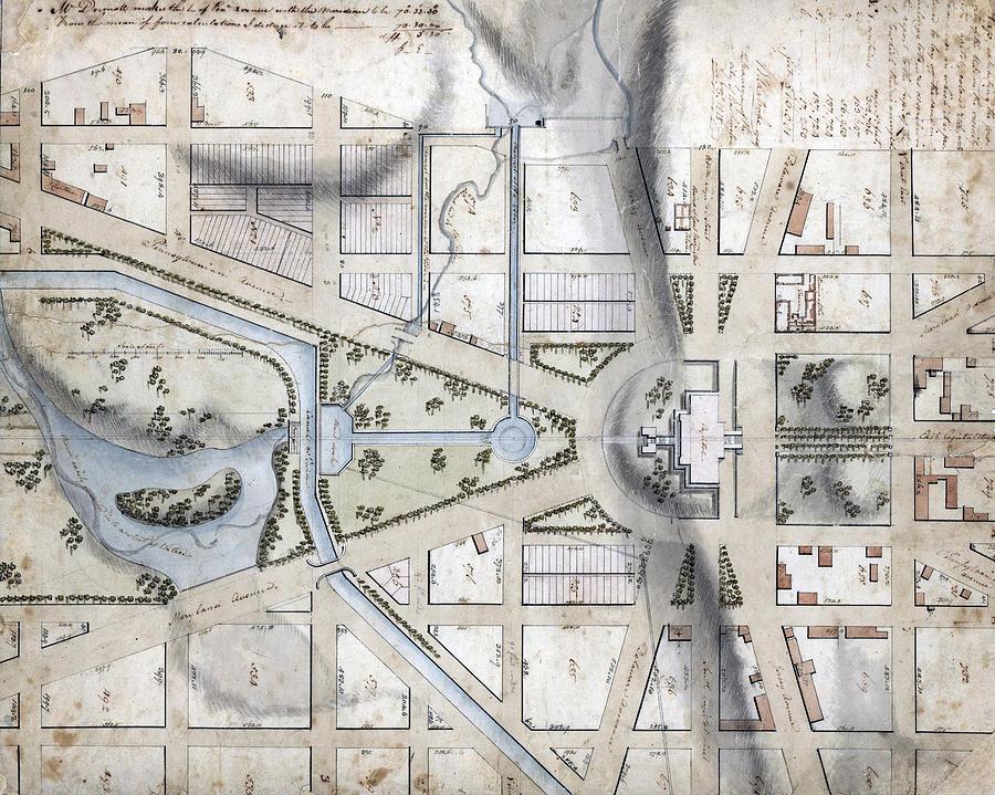 19th Century Photograph - Washington, D.c. Map Showing by Everett