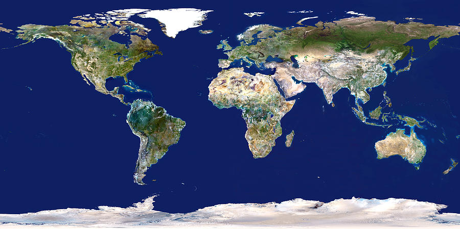 Earth Photograph - Whole Earth Map by Planetobserver