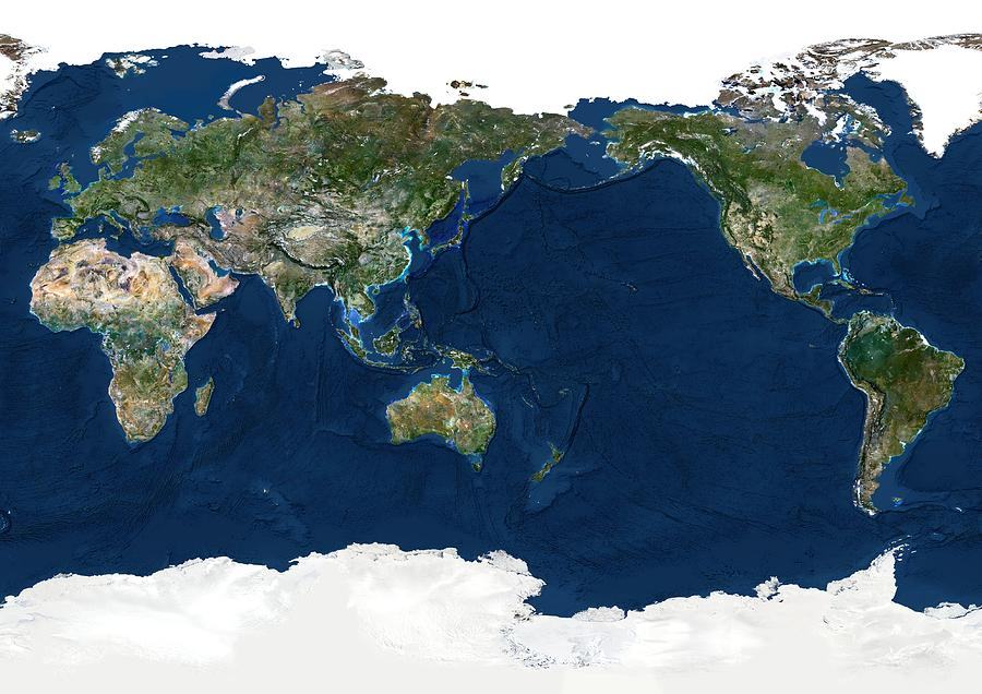 Earth Photograph - Whole Earth, Satellite Image by Planetobserver
