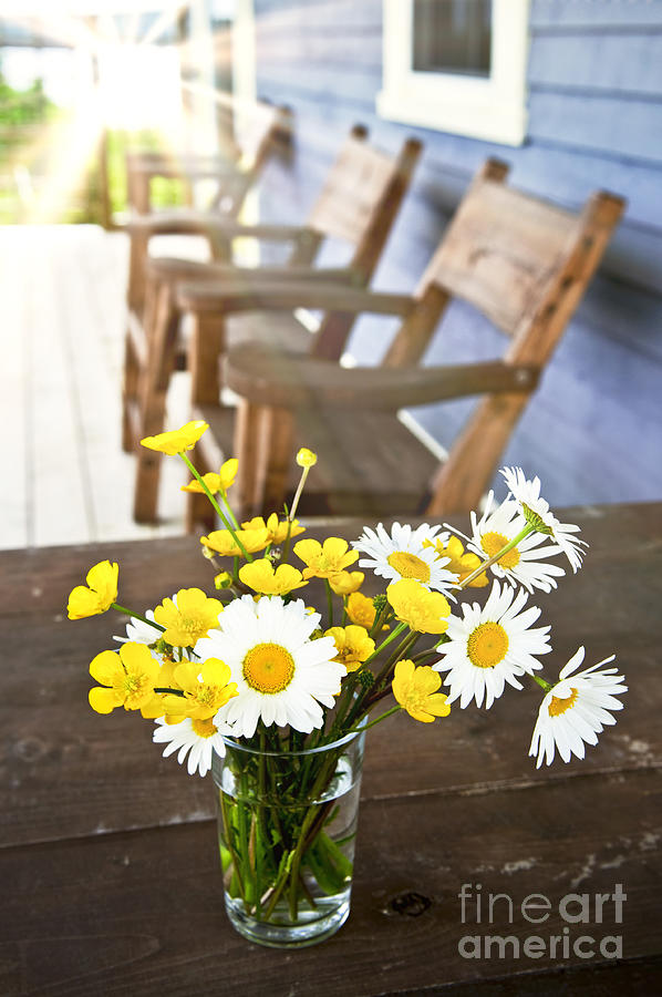 Bouquet Photograph - Wildflowers Bouquet At Cottage by Elena Elisseeva