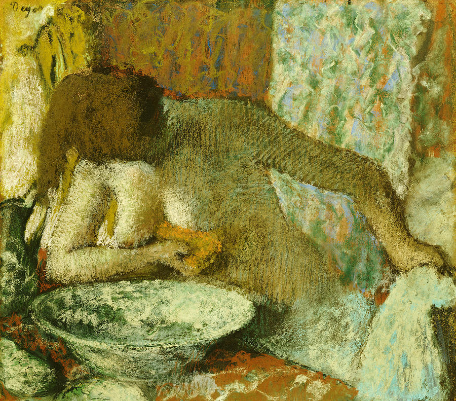 Nudes Pastel - Woman At Her Toilet by Edgar Degas