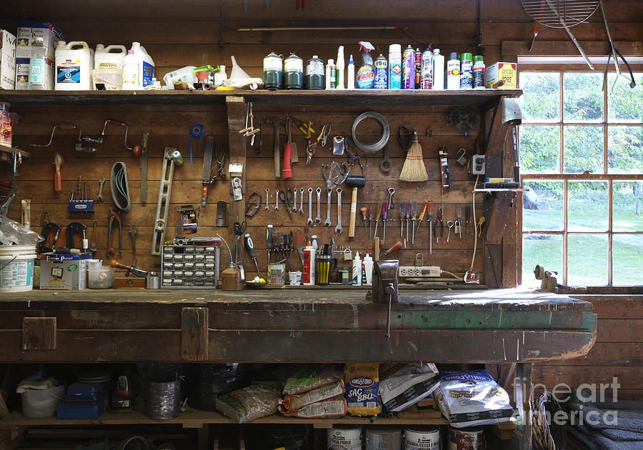 Bags Photograph - Work Bench And Tools by Adam Crowley