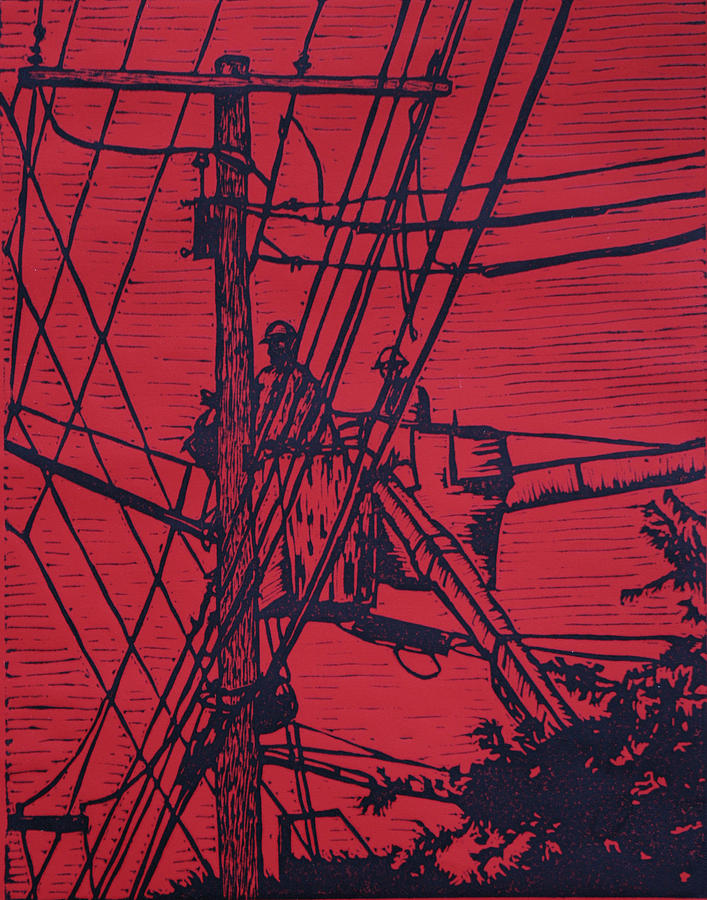 Powerlines Drawing - Working On Lines by William Cauthern