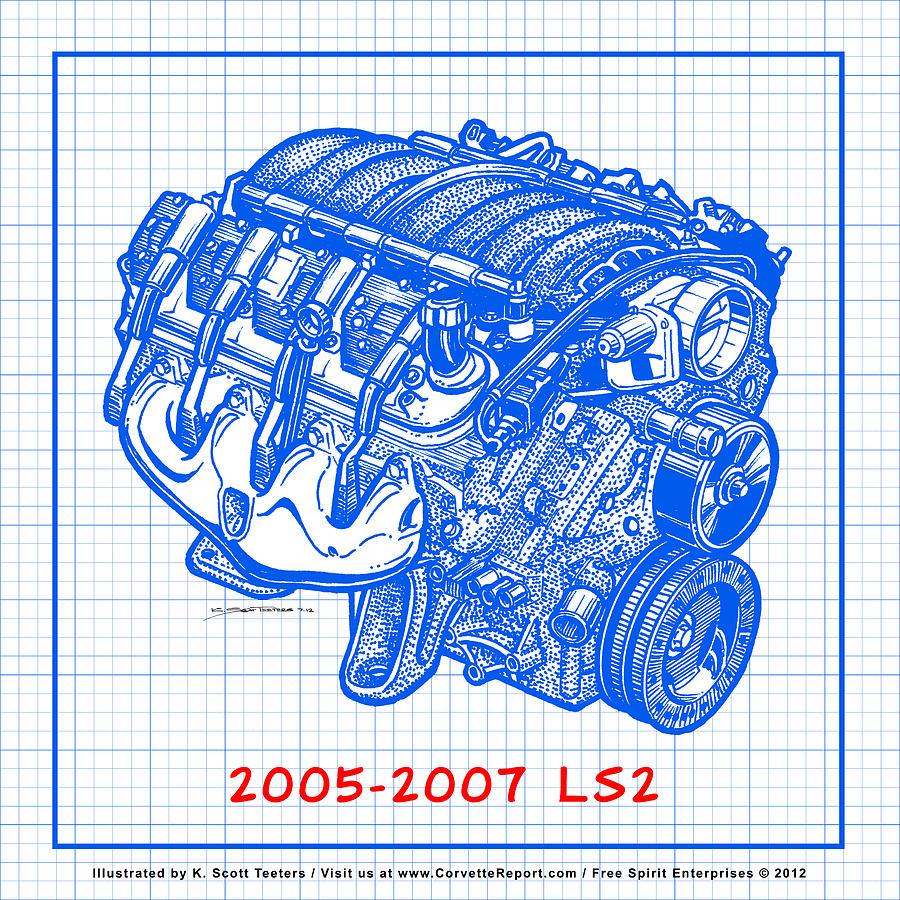 2005 2007 ls2 corvette engine blueprint drawing by k scott teeters c6 corvette drawing 2005 2007 ls2 corvette engine blueprint by k scott teeters malvernweather Images