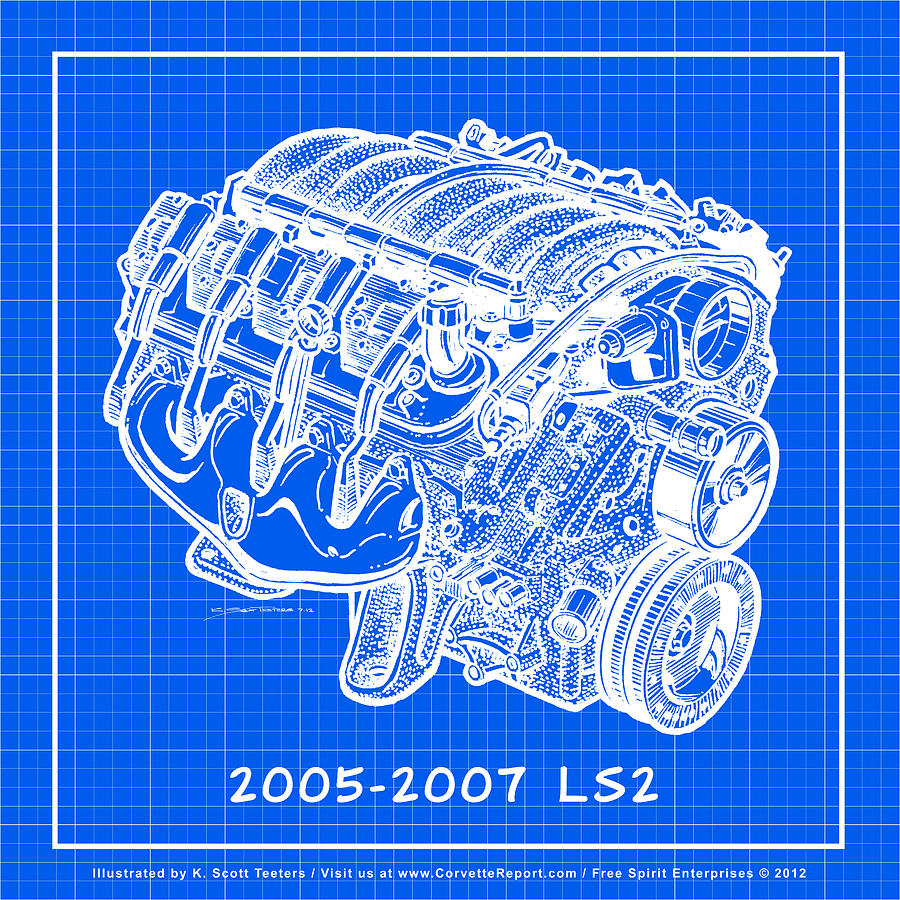 C6 Corvette Drawing - 2005 - 2007 Ls2 Corvette Engine Reverse Blueprint by  K Scott Teeters