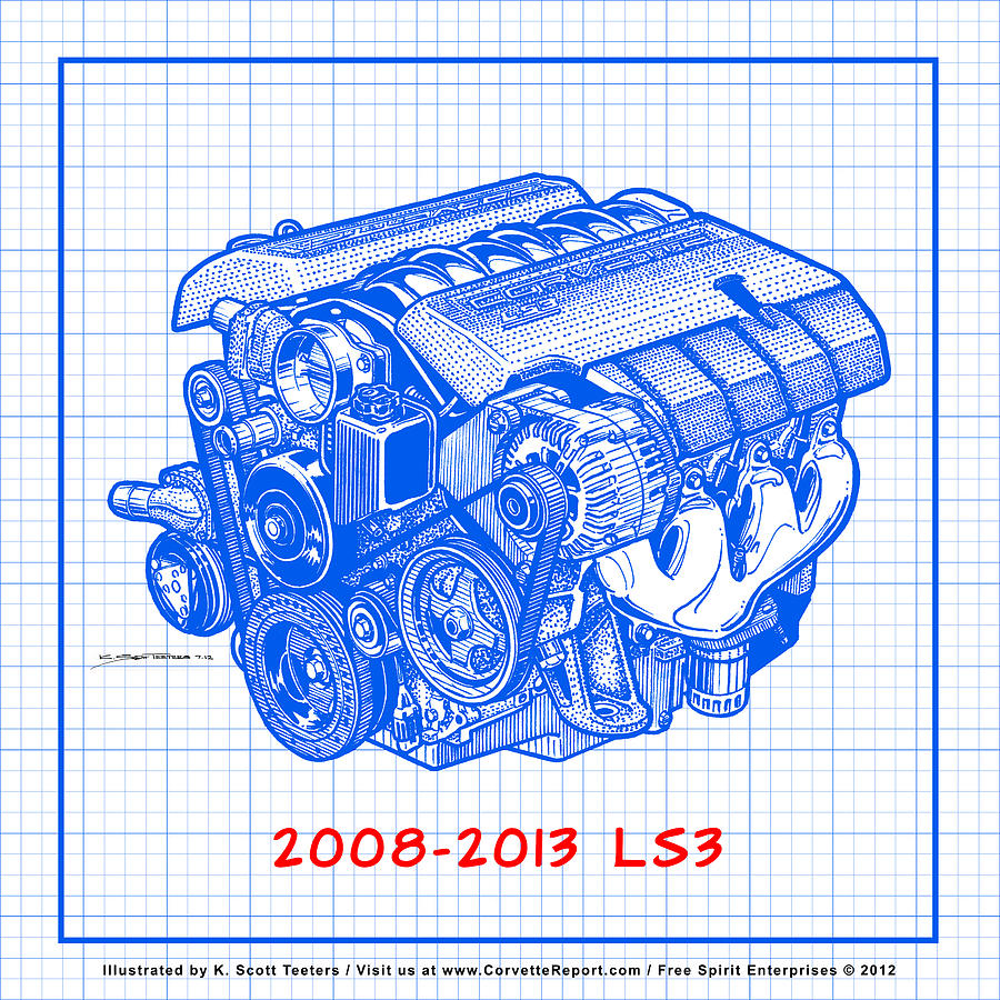 2008-2013 Ls3 Corvette Engine Blueprint Drawing by K Scott Teeters