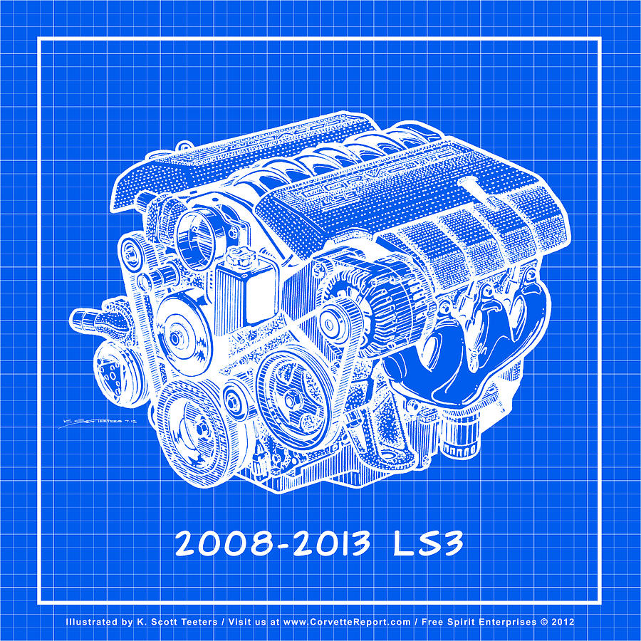 2008 2013 ls3 corvette engine reverse blueprint drawing by k scott 2008 corvette drawing 2008 2013 ls3 corvette engine reverse blueprint by k scott teeters malvernweather Choice Image