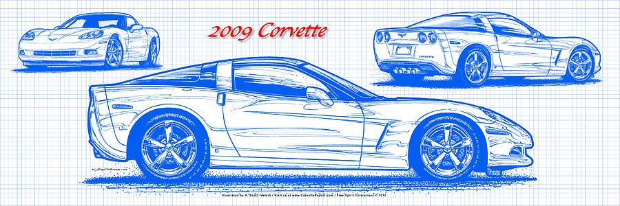 2009 c6 corvette blueprint digital art by k scott teeters 2009 corvette digital art 2009 c6 corvette blueprint by k scott teeters malvernweather Images