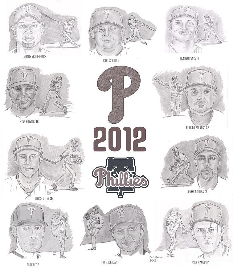 Philadelphia Phillies Drawing - 2012 Phightin Phils by Chris  DelVecchio