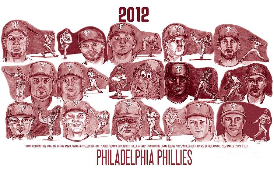 Shane Victorino Drawing - 2012 Philadelphia Phillies by Chris  DelVecchio