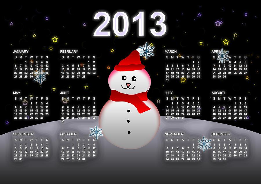 Calendar Digital Art - 2013 Calendar by Martin Marinov