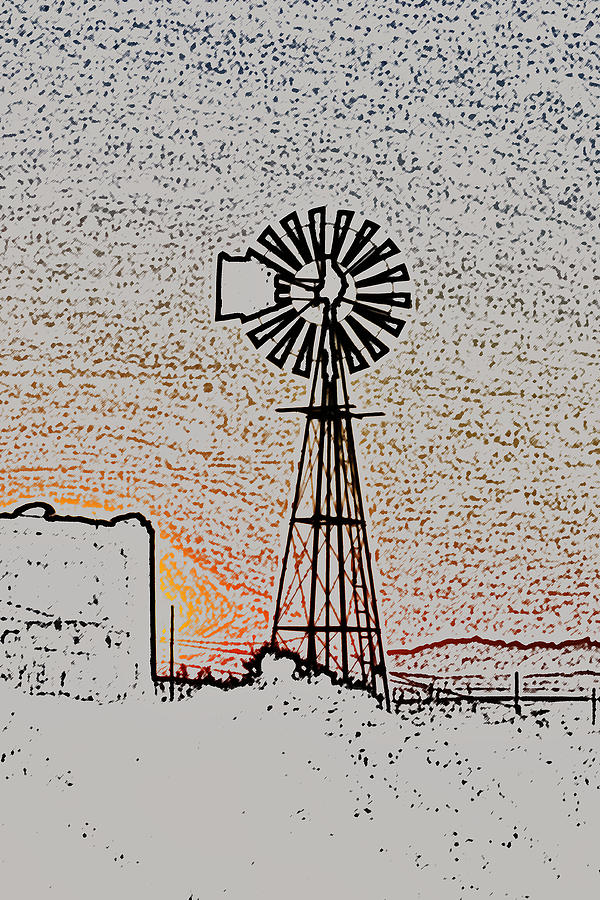 Photoshop Photograph - Water Pump Windmill by Werner Lehmann