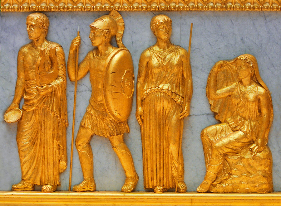 Historical Photograph - 24 Kt. Gold Greek Figures by Linda Phelps
