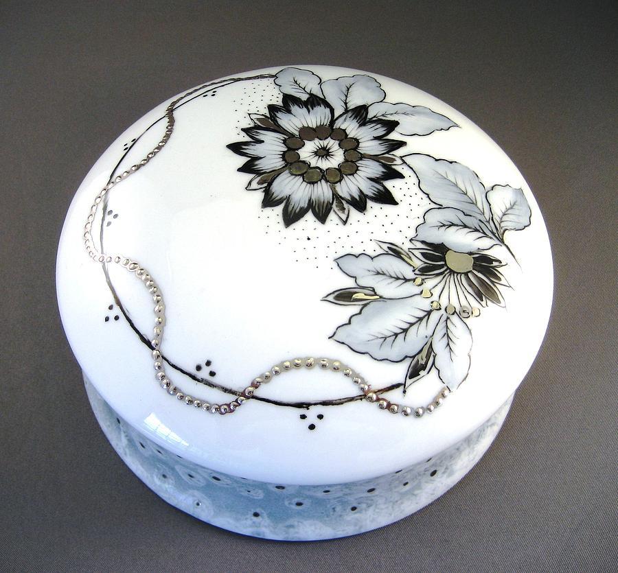 Porcelain Ceramic Art - 240 Box In Black Gray And Platinum by Wilma Manhardt
