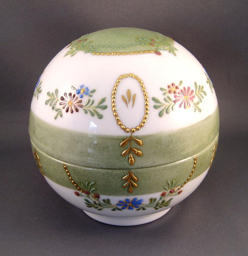 Porcelain Ceramic Art - 244 Truffle Box Raised Paste Gold Enamel by Wilma Manhardt
