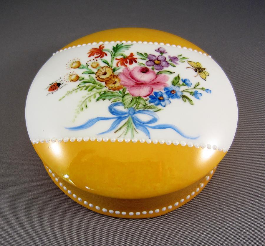 Porcelain Ceramic Art - 253 Dresden Style Box Yellow Grounding  by Wilma Manhardt