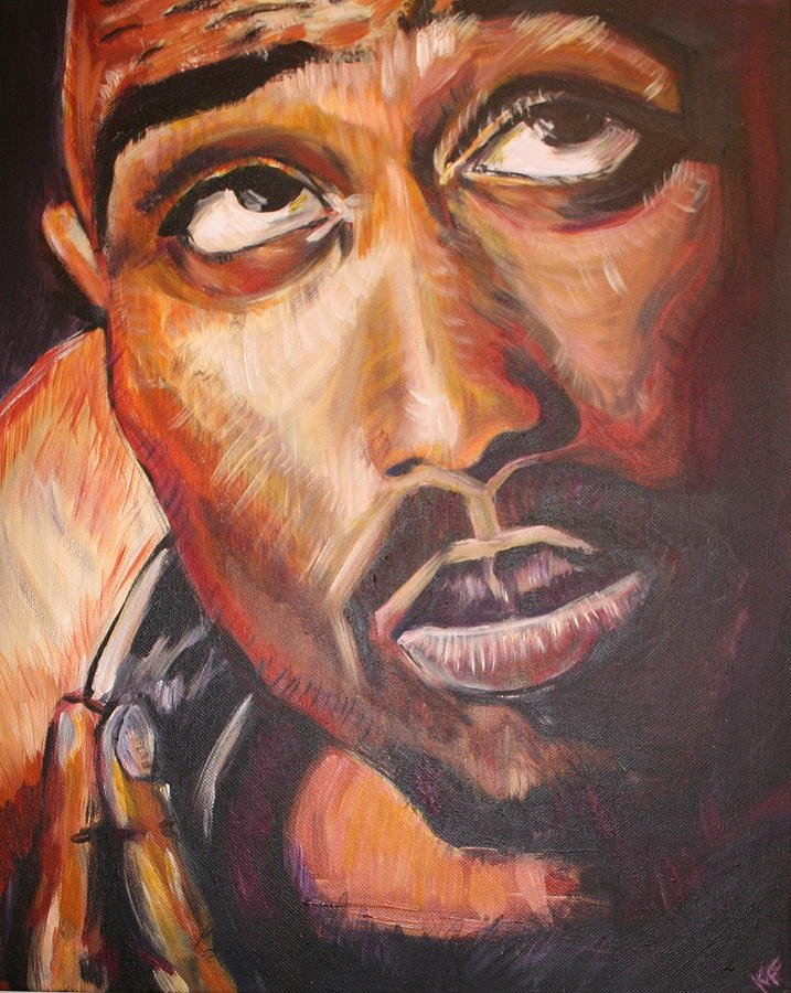 Portrait Painting - 2pac by Kate Fortin