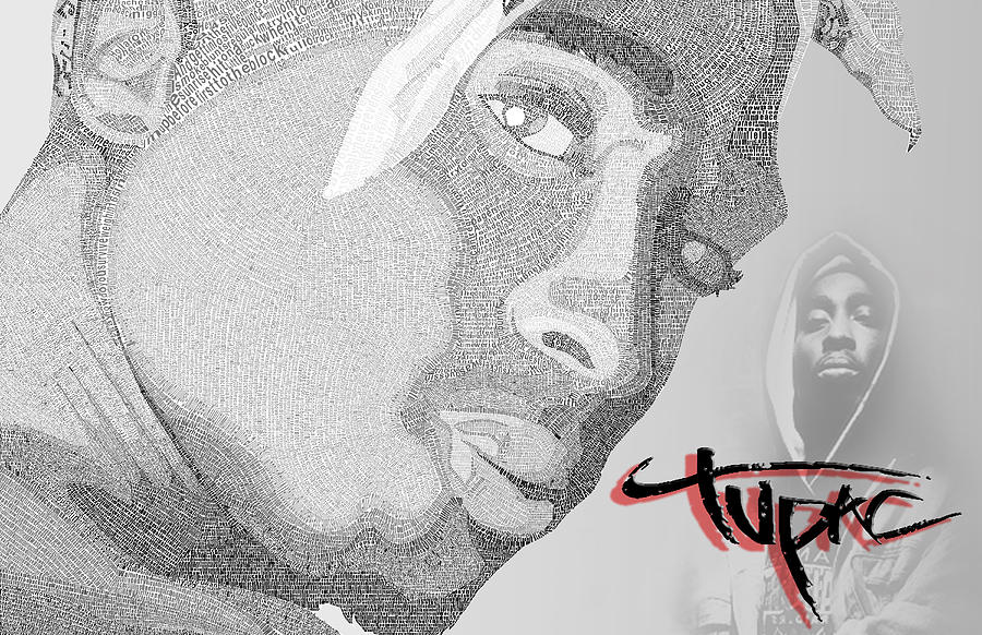 2pac Digital Art - 2pac Text Picture by Aaron Parrill