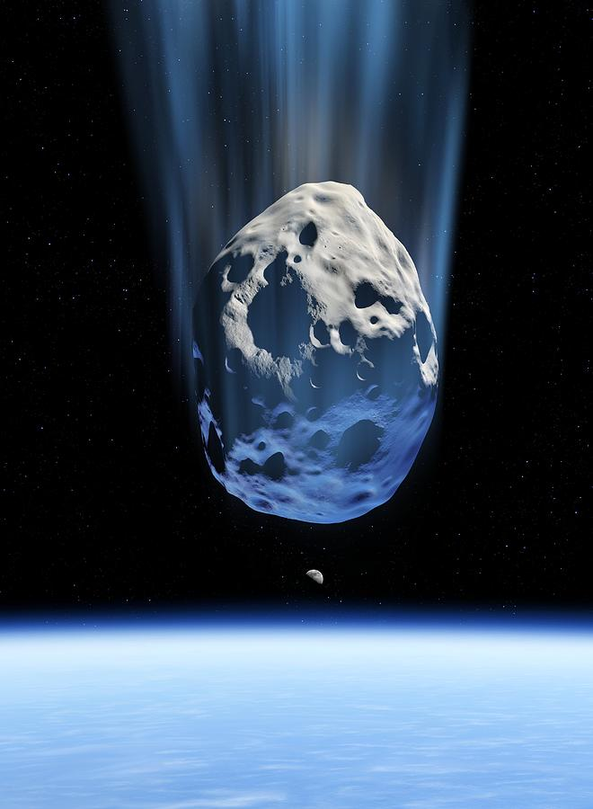 Earth Photograph - Asteroid Approaching Earth, Artwork by Detlev Van Ravenswaay