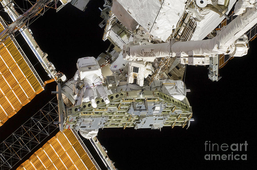 Truss Photograph - Astronauts Working On The International by Stocktrek Images