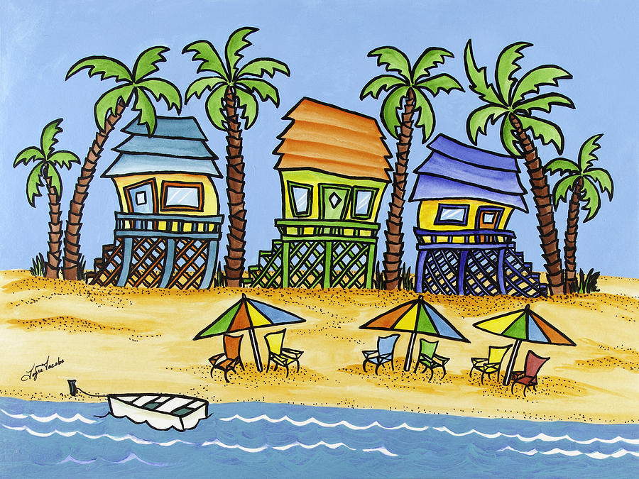 Beach Painting - 3-Beach Huts by Joyce M Jacobs