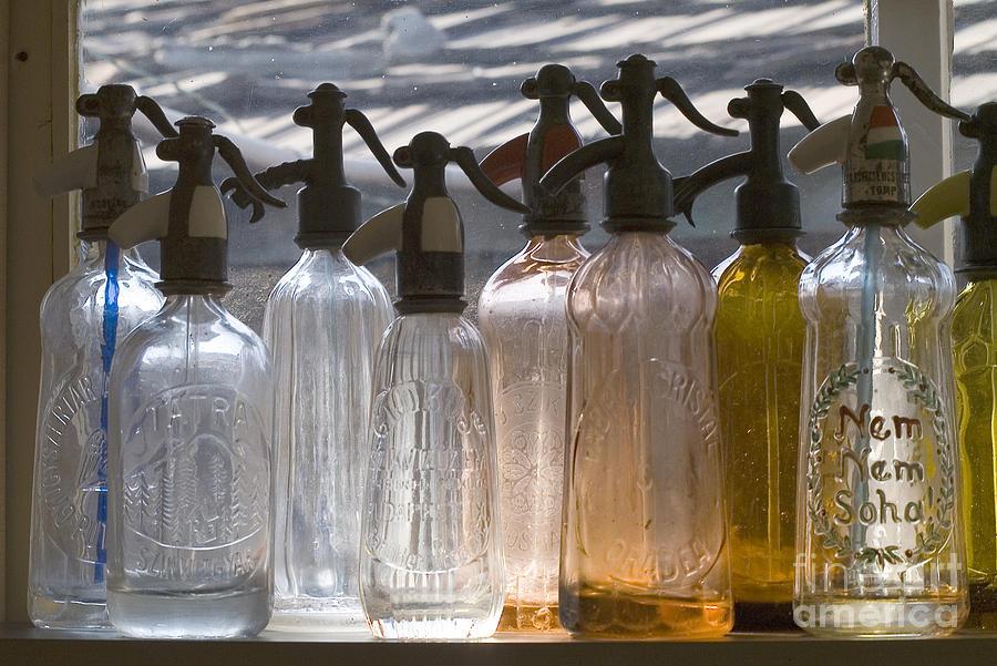 Background Glass Art - Bottle Of Water   by Odon Czintos