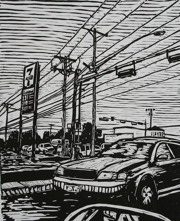 Lino Drawing - Burnet Road by William Cauthern