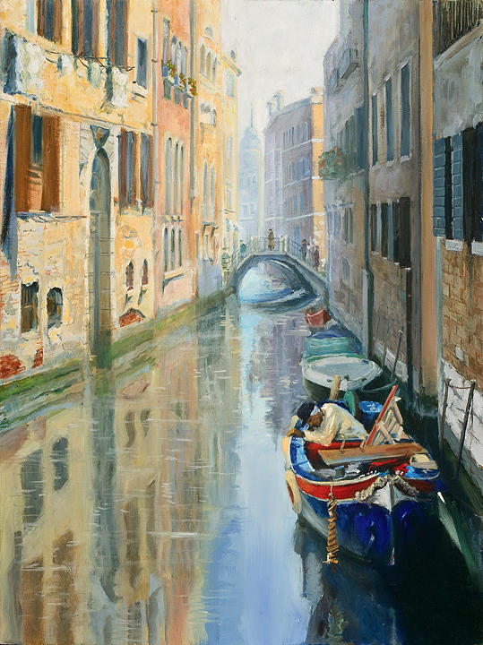 Seascape Painting - Canals Of Venice  by Larisa Napoletano