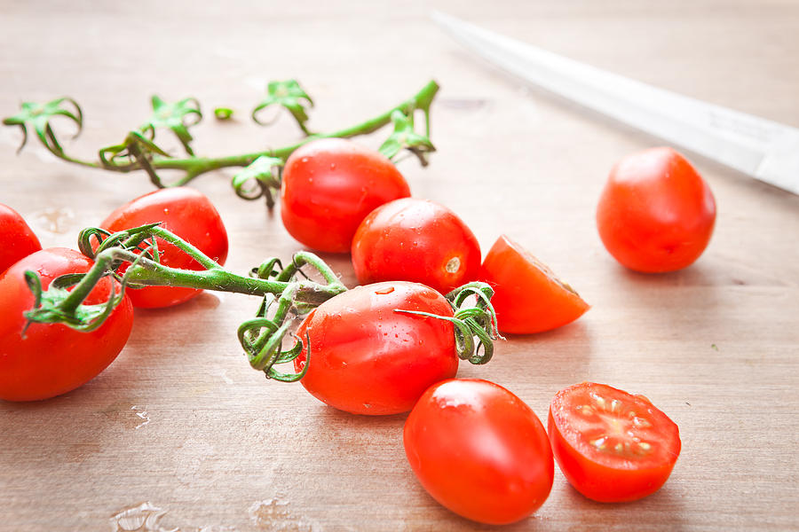 Blade Photograph - Cherry Tomatoes by Tom Gowanlock