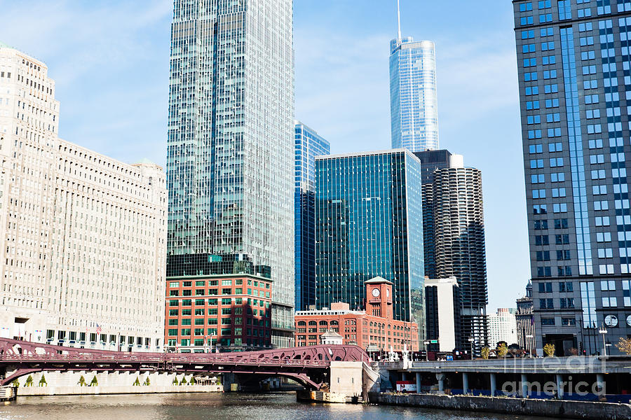 America Photograph - Chicago River Skyline by Paul Velgos