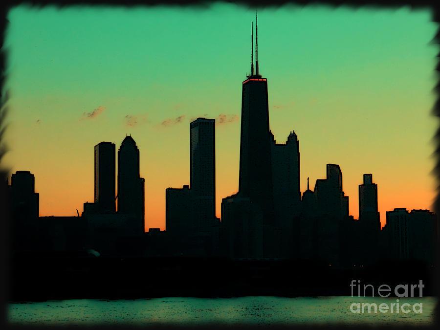 Chicago Photograph - Chicago Skyline Cartoon by Sophie Vigneault