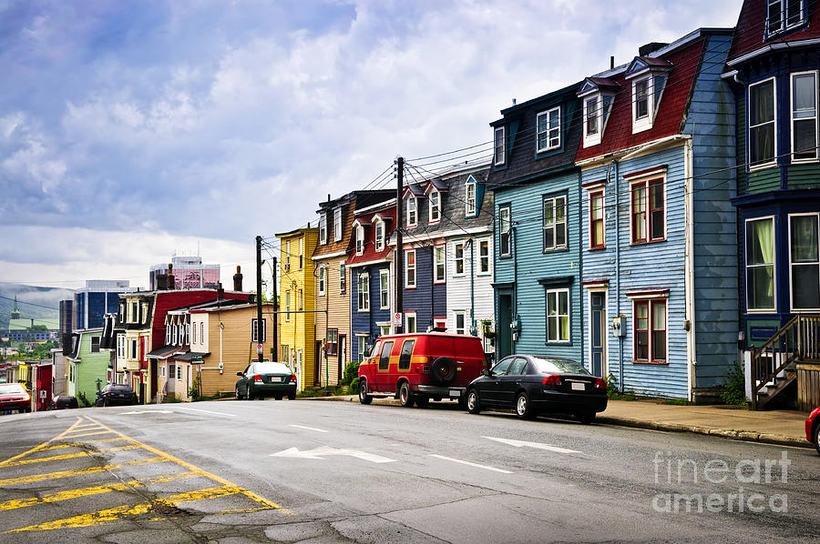 Street Photograph - Colorful Houses In St. Johns Newfoundland by Elena Elisseeva